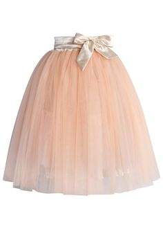 Amore Tulle Midi Skirt in Ice Orange