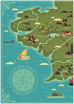 As fans of J. R. R. Tolkien's well known books and their film adaptations, we chose to illustrate a map of Middle Earth, the setting for The Hobbit and The Lord of the Rings.   We depicted several landmarks which were prominent in these stories.