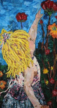 Picking flowers,Texas artist Ginger Brunson,Collage/Torn paper art