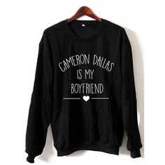 Cameron Dallas Is My Boyfriend Sweatshirt Crewneck Black White Maroon... ($24) ❤ liked on Polyvore featuring tops, long tops, long shirts, long sleeve tops, crop top and gray crop top