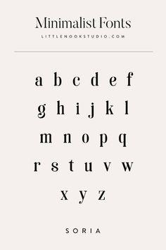 Minimalist modern fonts for your blog or brand. Type design, type inspiration, font inspiration, typography design, typography logo, typography inspiration, logo fonts, blog fonts by Little Nook Studio