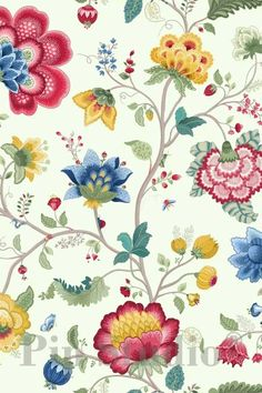 Behang Pip Studio III - Floral Fantasy - verkrijgbaar in 10 kleuren - Living Lounge White Wallpaper, Fabric Wallpaper, Pattern Wallpaper, Wallpaper Backgrounds, Iphone Wallpaper, Wallpapers, Flower Wallpaper, Pip Studio, Pretty Patterns