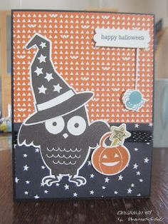Stamp: Howl-o-ween Treat, Holiday Home.  Ink: Early Espresso, Tangelo twist…