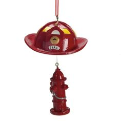 Fire Fighter Hat With Hydrant Dangle Christmas Ornament