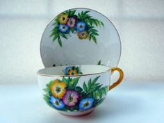 1934 - 1938 Aynsley Large Breakfast Cup Saucer Flowers Hand Decor Christmas Wedding Anniversary Birthday Collector Gift by ColorfullGifts on Etsy