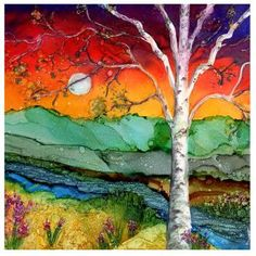 Four different colorful birch tree landscapes- mountain designs on ceramic tiles. Original alcohol ink painting by Linda Flynn. Image is transferred thru a dye sublimation process onto a satin finished Ceramic Tile. Cork on bottom to protect furniture. Can be used as coasters or