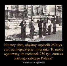 Niemcy chcą, abyśmy zapłacili 250 tys. euro za nieprzyjęcie imigranta. To może wystawmy im rachunek 250 tys. euro za każdego zabitego Polaka? – To nie kara, to lojalność! Poland Hetalia, Visit Poland, I Want To Cry, World War, Victorious, Haha, Military, History, Statistics
