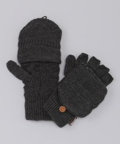 Take a look at this Gray Knit Convertible Mittens - Men by MUK LUKS on #zulily today!