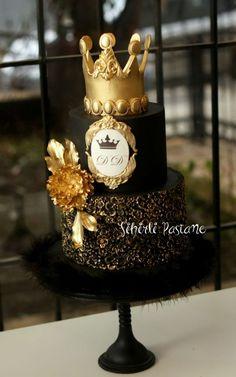Birthday Cake Crown, Elegant Birthday Cakes, 18th Birthday Cake, Beautiful Birthday Cakes, Birthday Cakes For Men, Elegant Cakes, Beautiful Cakes, Black And Gold Cake, Royal Cakes