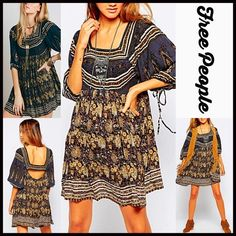 """Free People Boho Trapeze Dress  NEW WITH TAGS  Retail: $148 Free People Boho Mini Tunic Trapeze Dress                                                * Beautiful allover floral print * Square neck, 3/4 long wide flared sleeves w/tie details at elasticized  cuffs, back cutout, & side pockets.  * Pullover style & oversized fit.  * About 33"""" long.  * A line  Fabric: 100% Rayon; Machine wash Color: Black Night Combo   No Trades ✅Offers Considered*/Bundle Discounts✅ *Please use the 'offer' button…"""