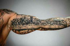 "The Most Striking Examples of Tattoos from ""Tattoo Mania Expo"" Bicep Tattoo Men, Tattoo L, Inner Bicep Tattoo, Forarm Tattoos, Forearm Sleeve Tattoos, Leg Tattoos, Tattoos For Guys, Cool Half Sleeve Tattoos, Upper Arm Tattoos"