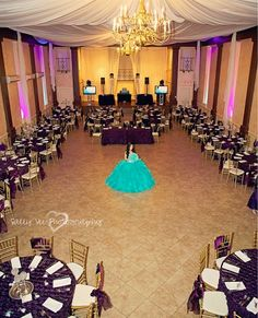 This is an AWESOME photography idea for a Quinceanera. ✒ Take a picture of you inside the hall before it is filled with everyone. THIS IS YOUR MOMENT and DAY!  ツ  Have the photographer take a picture like this, and one with the hall filled with people. with you standing in the same place. It makes for a lovely photo. \\ Photo Credit: Sally Vee Photography #Quinceaneraphotoidea #Quinceanos #Quinceanera