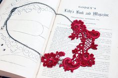 lace collar necklace ALISHA scarlet red burgundy by tinaevarenee, $32.00