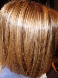 Golden Blonde Highlights w/ Golden Brown lowlights On Golden Brown Base- Hair Color.... One length Bob - Haircut on Fine To Medium textured Hair