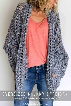 In this video tutorial, we'll learn how to crochet a sweater start to finish. This easy, free crochet sweater pattern makes the perfect chunky cardigan for fal Crochet Cardigan Pattern, Crochet Jacket, Crochet Patterns, Stitch Patterns, Knitting Patterns, Crochet Vests, Shawl Patterns, Vest Pattern, Sewing Patterns