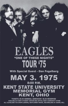 The Eagles Tour 1975 :  The Eagles perform much better today than in 1975. Of course, they were all stoned back then.
