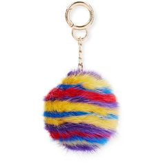Surell Striped Mink Fur Key Chain ($40) ❤ liked on Polyvore featuring accessories, jewelry charms, multi stripes, fob key chain, surell and pom pom key chain