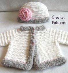 Crochet PATTERN Baby Sweater & Hat Patterns The Laura Baby Girls Set Crochet Pattern Crochet Sweater Pattern Baby GIrls Sweater Patterns