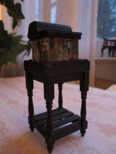 Dollhouse Miniatures ~ Hand Made Aquarium Or Fish Tank W/wooden Stand, Lights Up