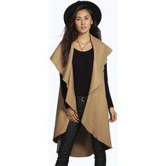 Boohoo Amy Waterfall Sleeveless Coat ($26) ❤ liked on Polyvore featuring outerwear, coats, camel, rain coat, duster coat, camel wrap coat, puff coat and puffy coat