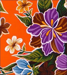 Oilcloth By The Yard - Hawaii Orange Oilcloth