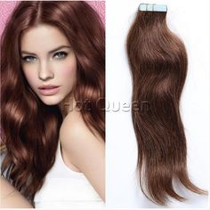 Hot Queen 6A Grade Brazilian Straight Skin Weft Human Hair Extension Chocolate Brown(#4) Tape In Virgin Hair Extension 40Pcs/100g