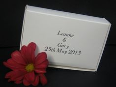 150 White Wedding Cake Boxes, with Personalised Printing (in silver or gold)