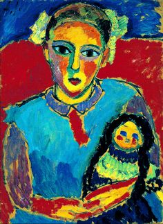 """Alexej von Jawlensky - 1910 Child with doll -- So Matisse like. How do you distinguish between epxressionism and fauvism ? I don't like """"isms"""" actually. Let the paintings do the talking."""