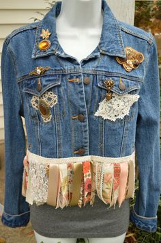 Upcycled Denim Fringed Cropped Blue Jean Jacket Gypsy Boho Style Embellished Altered Refashioned Sz L.