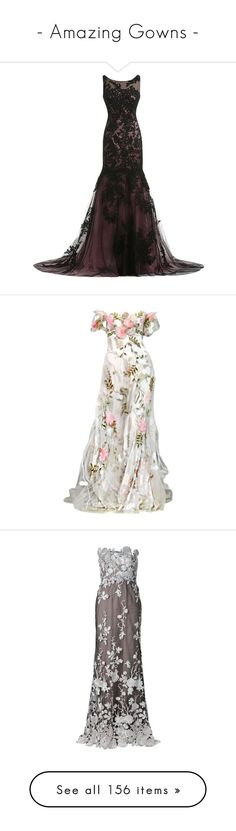 """""""- Amazing Gowns -"""" by dicabria ❤ liked on Polyvore featuring dresses, gowns, long dresses, vestidos, lace dress, mother of the bride gowns, vintage gowns, vintage evening dresses, long gowns and white evening gowns"""