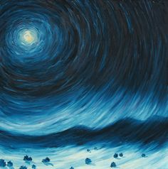 """Evolution of Night, 36""""x36"""", oil on canvas  When I first moved to New Mexico I found that even the slightest bit of moonlight was enough to cast a shadow. Standing at the end of my aunt's driveway I felt mesmerized by a full moon, easily pulled into its vortex."""