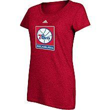 adidas Philadelphia 76ers Womens Primary Logo 50/50 Blend T-Shirt - NBAStore.com