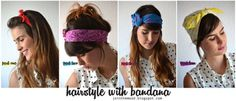 4 different tutorials on how to wear bandanas. So easy and cute!