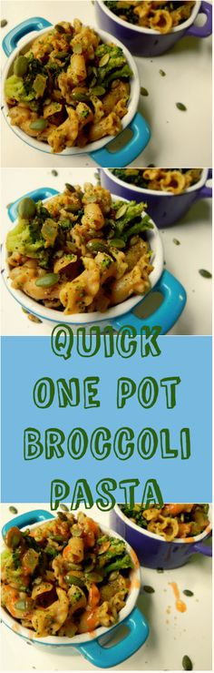 One Pot Broccoli Pasta - an easy, quick, tasty, healthy + #vegan weeknight meal that comes together in less than 20 minutes! GF pasta for #Glutenfree option.