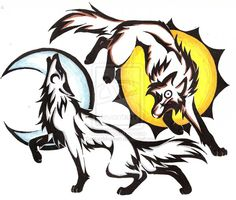 Sun and Moon Fox and Wolf Wolf Tattoos Men, Tribal Wolf Tattoo, Wolf Tattoo Sleeve, Wing Tattoos, Chest Tattoo, Animal Tattoos, Sleeve Tattoos, Sun And Moon Drawings, Sun Drawing