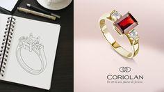 Iubim să făurim vise cu ardoare și dedicare. Cea mai recentă piesă creată pentru o persoană specială, este acest inel din aur de 14K. Încadrat între cele două topaze, atent șlefuite, granatul de un roșu aprins iese în evidență, jucând roul principal. Vise, Aur, Bangles, Bracelets, Custom Jewelry, Topaz, Personalized Jewelry, Bracelet, Cuff Bracelets