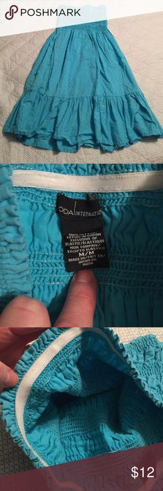 VS swim coverup Beautiful blue swim coverup with smocked top and covered in swiss dots.  Non-slip elastic is featured on the inside of the top to prevent it from slipping down.  MODA International brand purchased from Victoria's Secret. Size medium. Moda International Swim Coverups