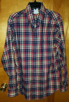 Brooks Brothers Original Polo Slim Fit Multi Plaid Button Down Flannel Shirt L #BrooksBrothers $16