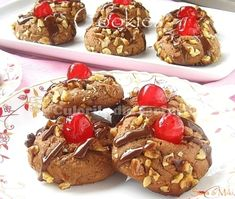 Chocolate Nuts Cherry Cookies by Sara_Miki Cherry Desserts, Cookie Desserts, Cookie Bars, Cookie Recipes, Cookie Swap, My Recipes, Favorite Recipes, Fall Recipes, Cherry Cookies