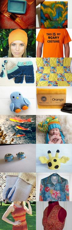 Orange, blue and yellow by Diane Negron on Etsy--Pinned+with+TreasuryPin.com