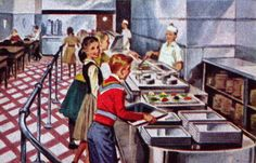Saturday Evening Post, March 1955- School lunch line