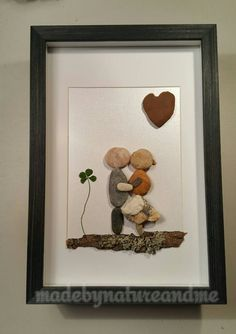 Unique engagement gift, parents anniversary gift, unique pebble loving couple art, art with four leaf clover, LUCKY couple gift by madebynatureandme on Etsy