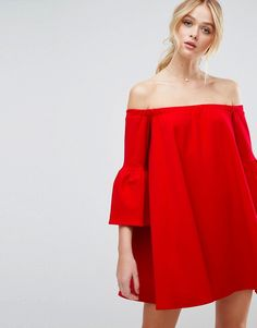 Buy it now. ASOS Off Shoulder Dress with Bell Sleeve - Red. Dress by ASOS Collection, Midweight textured stretch fabric, Stretch neck, Off-shoulder design, Bell sleeves, Loose fit � falls loosely over the body, 95% Polyester, 5% Elastane, Our model wears a UK 8/EU 36/US 4 and is 178cm/5'10 tall. ABOUT ASOS COLLECTION Score a wardrobe win no matter the dress code with our ASOS Collection own-label collection. From polished prom to the after party, our London-based design team scour the…