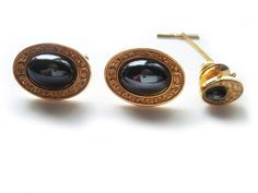 Vintage Hematite Cuff Link and Tie Pin Tack Set by BreatheCouture, $25.00