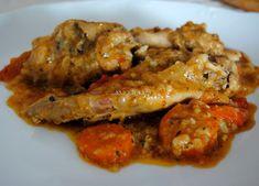 Conejo a la Santanderina Spanish Kitchen, Spanish Cuisine, Spanish Food, Meat Recipes, Mexican Food Recipes, Carne Asada, Canapes, Omelette, Professional Chef