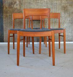 4 X 60s KORUP Teak Dining Chairs Danish Vintage Mid Century 60