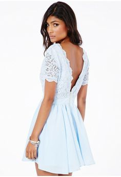 Aleena Lace Plunge Neck Puffball Dress - Dresses - Mini Dresses - Missguided