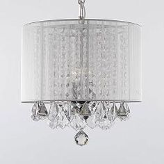 "Crystal Chandelier Chandeliers With Large White Shade! H15"" x W15"" SWAG PLUG IN"