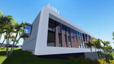 Sede da ÁGILI SOFTWARE em londrina Paraná, 2000 m2 estrutura metálica e Stelamaris frase. Os brises servem para proteger a fachada do sol apenas no verão