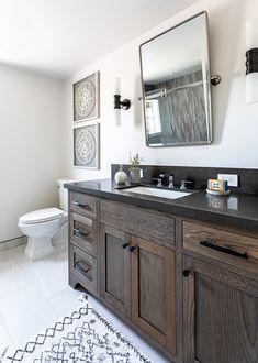 Altadena Modern Farmhouse New Construction Farmhouse Sink Bathroom Vanity, Farmhouse Bathroom Mirrors, Master Bathroom, Bath Trends, Modern Farmhouse Design, Rustic Design, Modern Rustic, Farmhouse Decor, Bathroom Styling